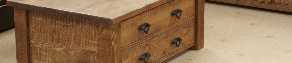 Rough Sawn Chunky 8 Drawer Coffee Table and Multi-Chest