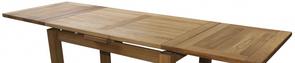 Oak Panel Extending Dining Table with Detachable Leaves